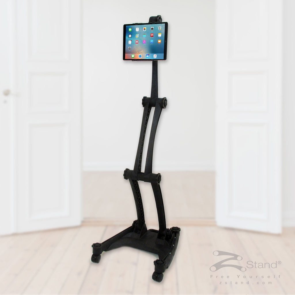Image of a black ZStand AllStar, portable personal assistant tablet holder