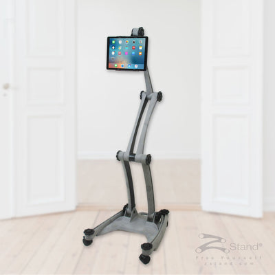 Image of a gray ZStand AllStar, a portable and adjustable tablet holder