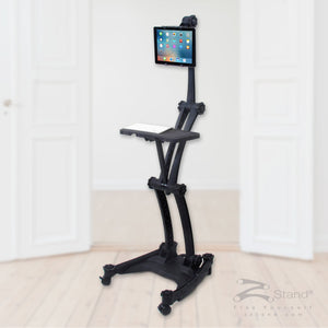 Image of a black ZStand AllStar Pro, portable sit-stand workstation