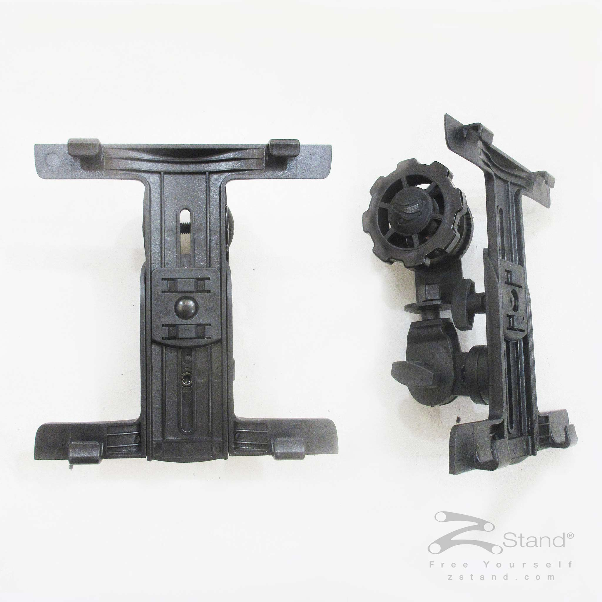 Front and side view of the ZStand AllStar Pro head assembly for holding tablet devices.
