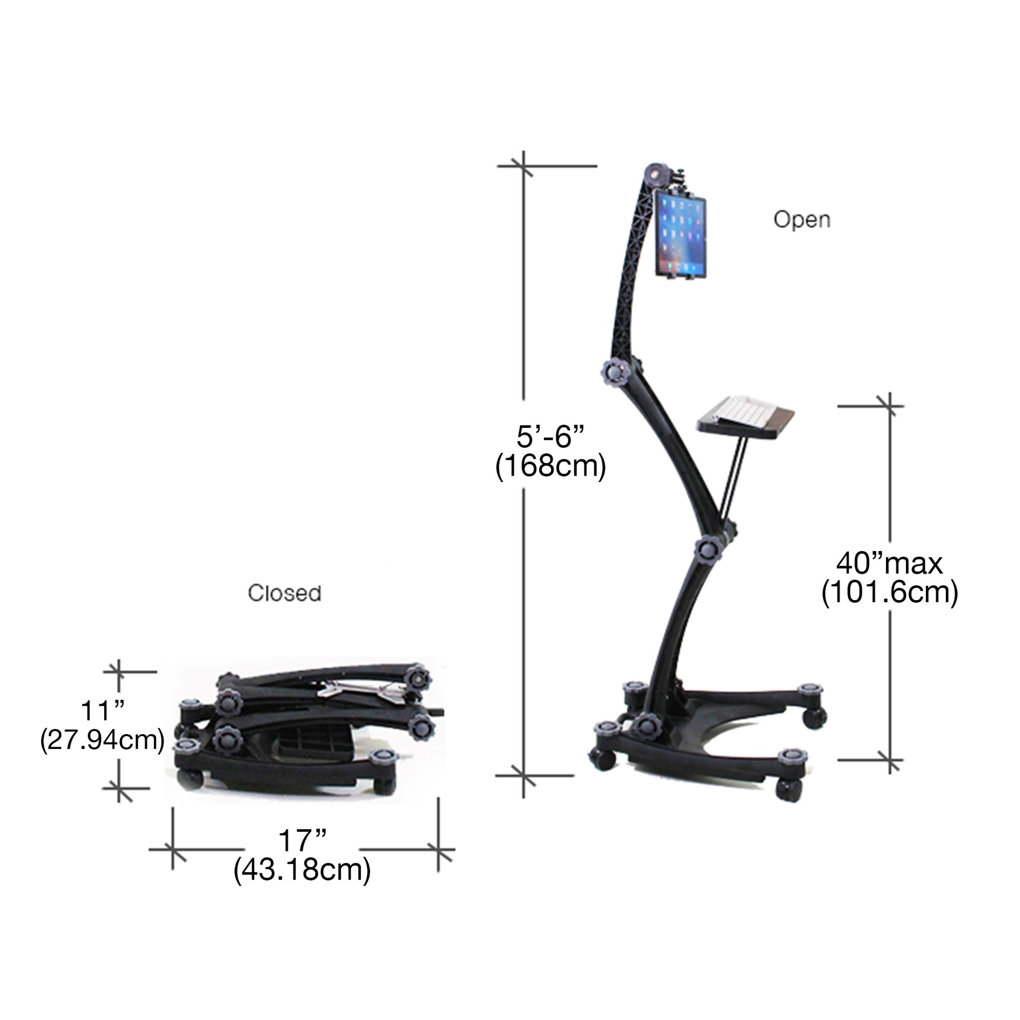 Dimensions of the ZStand AllStar Pro in its closed and full extension positions.