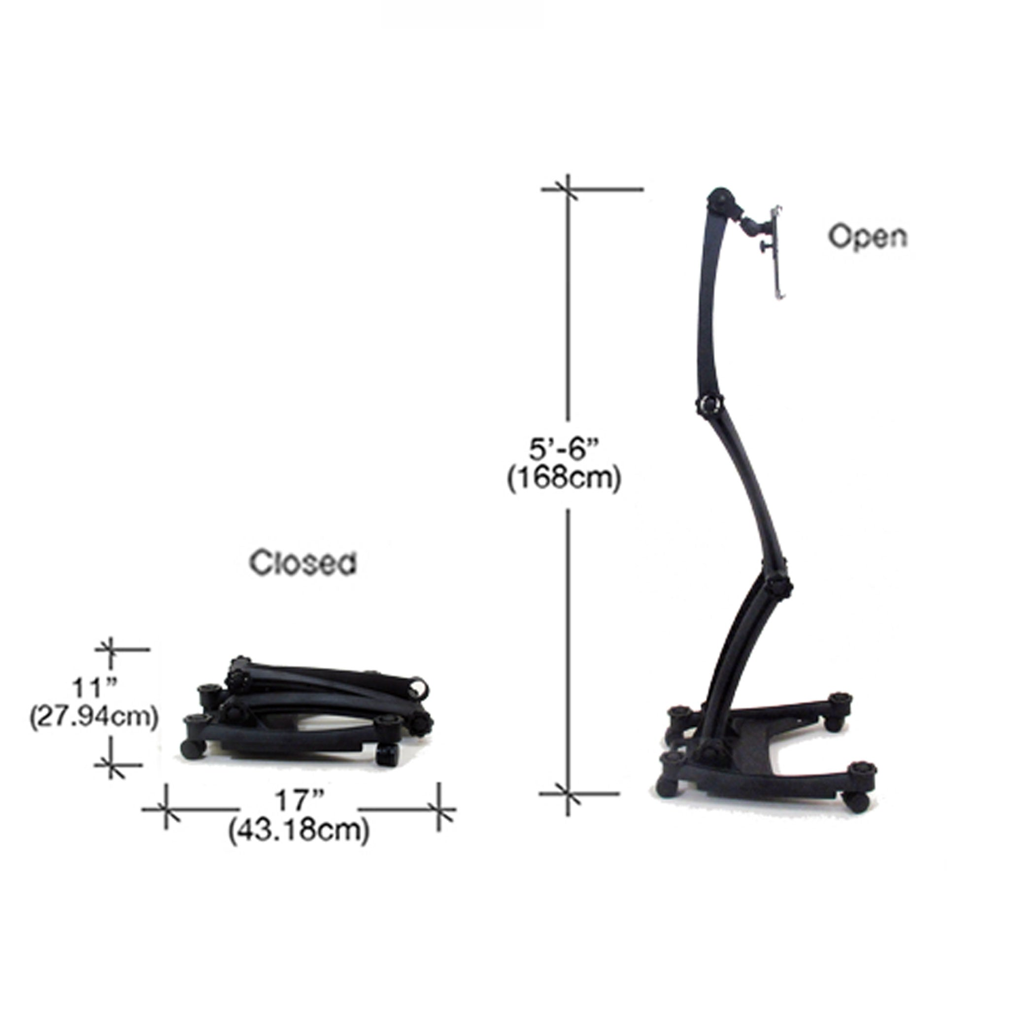 Dimensions of the ZStand AllStar in its closed and full extension positions.