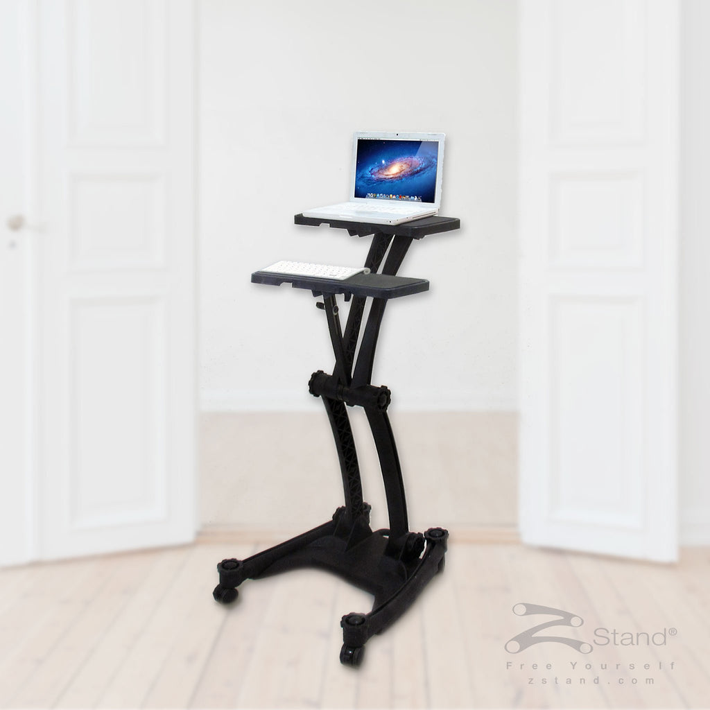 Image of a black ZStand Double Decker, portable standing workstation