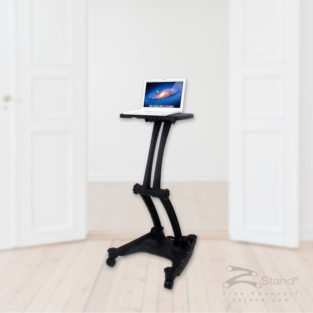 Image of a black ZStand Sportster LT, a portable sit-stand laptop workstation