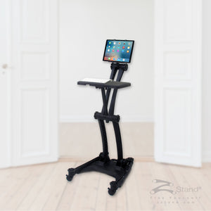 Image of a black ZStand Sportster Pro, a portable sit-stand workstation