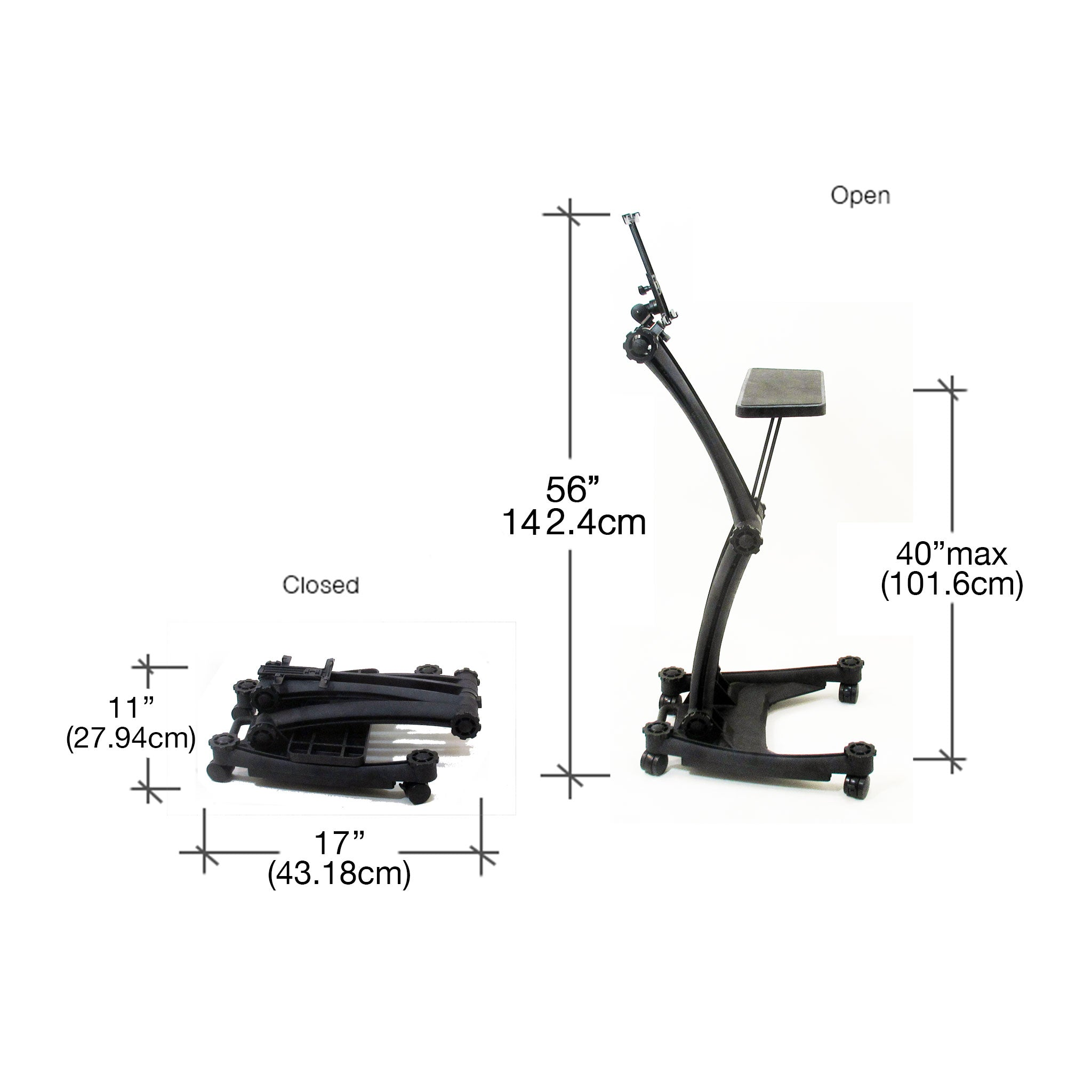 Dimensions of the ZStand Sportster Pro in its closed and full extension positions.