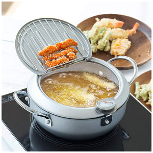Yoshikawa Mirakutei III Deep Frying Pan, Hinged Lid, Integrated Thermometer, 20cm