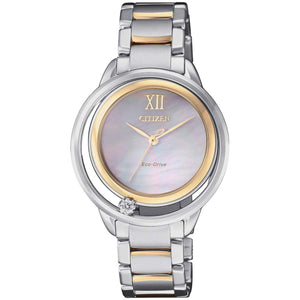 Citizen Women's Eco-Drive Mother of Pearl Dial with Diamond Two Tone Watch, EW5514-87D