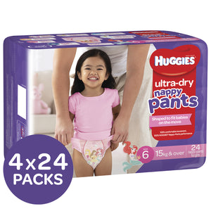 Huggies Ultra Dry Nappy Pants, Size 6, 15+ Kg, Girls, 4x24 Pack