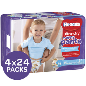 Huggies Ultra Dry Nappy Pants, Size 6, 15+kg, Boys, 4x24 Pack