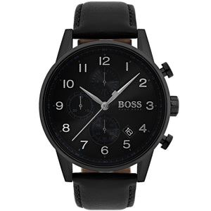 Hugo Boss Navigator Men's Black Leather Strap Watch 1513497