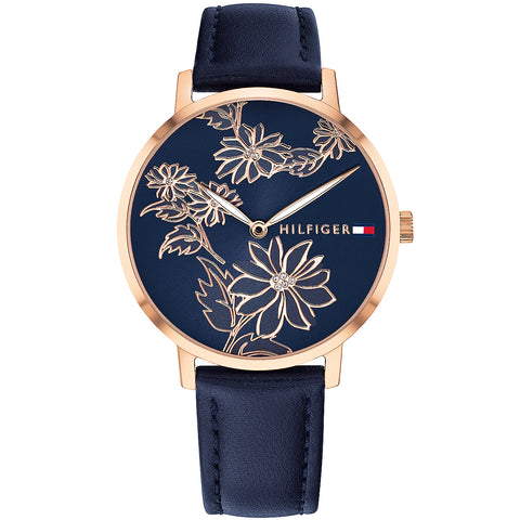 Tommy Hilfiger Women's Floral Navy Leather Strap Watch 1781918