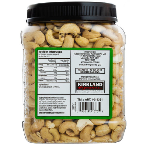 Image of Kirkland Signature Organic Unsalted Cashew 1.13Kg x 2