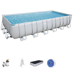 Bestway Power Steel Rectangular Pool Set with Sand Filter, 7.32 x 3.66 x 1.32 m, 30045L