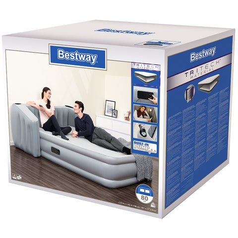 Bestway Tritech Wingback Airbed, Built-In Headboard, Queen, 2.33m x 1.96m x 80cm, 67620