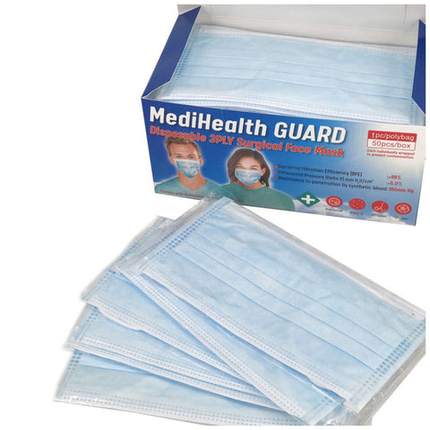 MediHealth Guard Disposable 3ply Surgical Face Mask 50pcs/Box