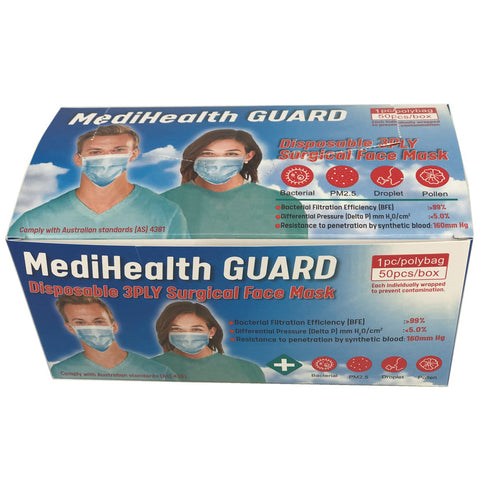 Image of MediHealth Guard Disposable 3ply Surgical Face Mask 50pcs/Box