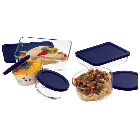 Image of Pyrex Simply Store 10-Piece Glass Food Storage Set with Blue Lids