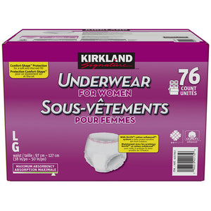 Kirkland Signature Women's Incontinence Underwear Large to X-Large 4 x 19pk