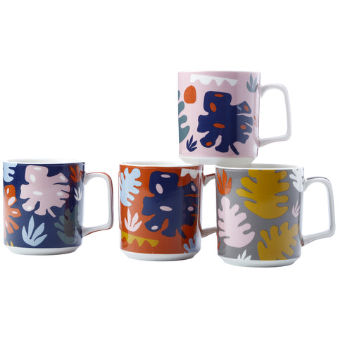 Image of Maxwell & Williams Monstera Mug Set 4pc