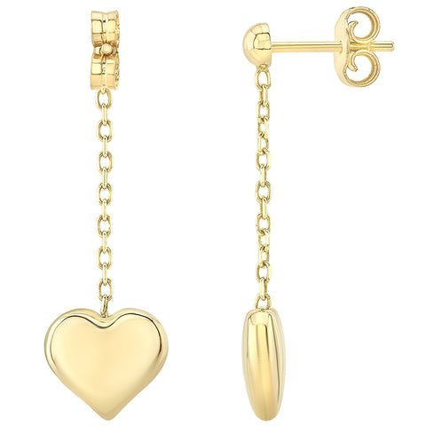 Image of 14KT Yellow Gold Heart Drop Earrings
