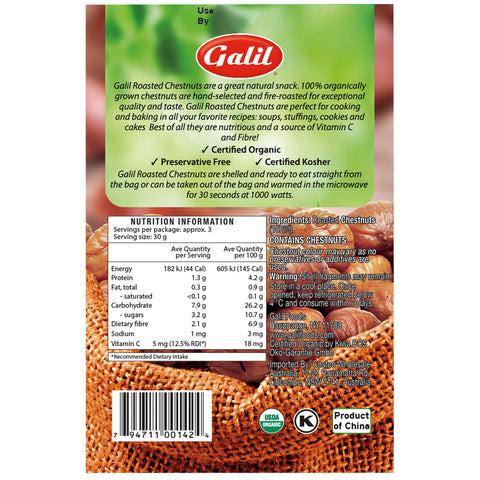 Image of Galil Organic Roasted Chestnuts 3 x 6 x 100g