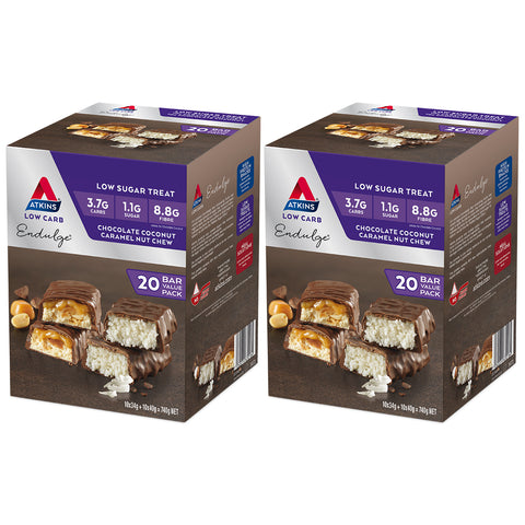40 x Atkins Endulge Low Sugar Variety Pack, 20 x 34g Chocolate Coconut & 20 x 40g Caramel Nut Chew