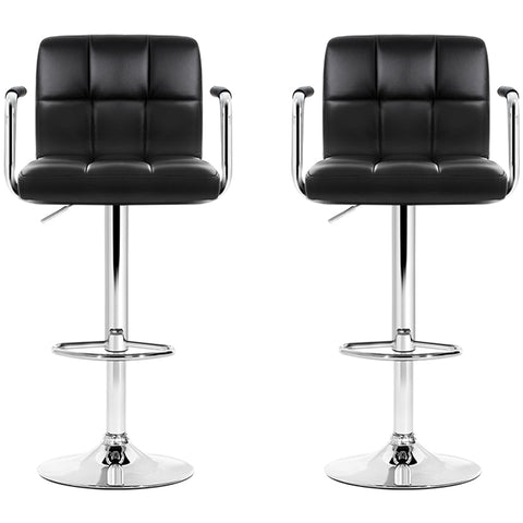 Image of Artiss Black Gaslift Swivel Barstool with Arm Rests 2pk