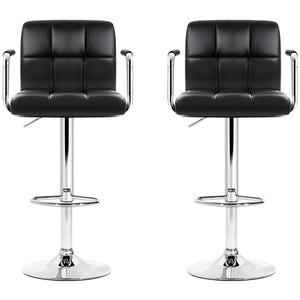 Artiss Black Gaslift Swivel Barstool with Arm Rests 2pk