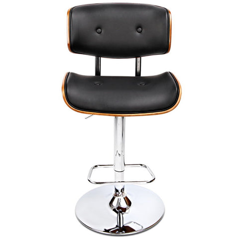 Image of Artiss Black Gaslift Swivel Barstool with Wooden Seat