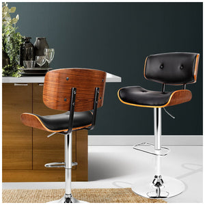 Artiss Black Gaslift Swivel Barstool with Wooden Seat