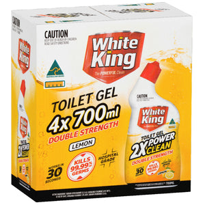 White King Double Strength Toilet Gel Lemon 2 x 4 x 700ml