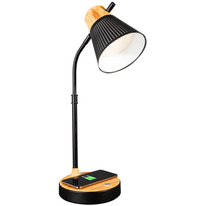 Ottlite LED Woodgrain Desk Lamp, Charging pad, USB port