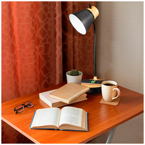 Image of Ottlite LED Woodgrain Desk Lamp, Charging pad, USB port