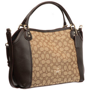 Coach Signature Edie Satchel Bag 28 Khaki Brown
