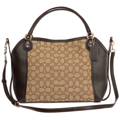 Image of Coach Signature Edie Satchel Bag 28 Khaki Brown