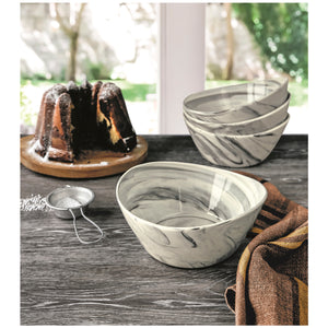 Over & Back Marble Porcelain Bowls 4pc