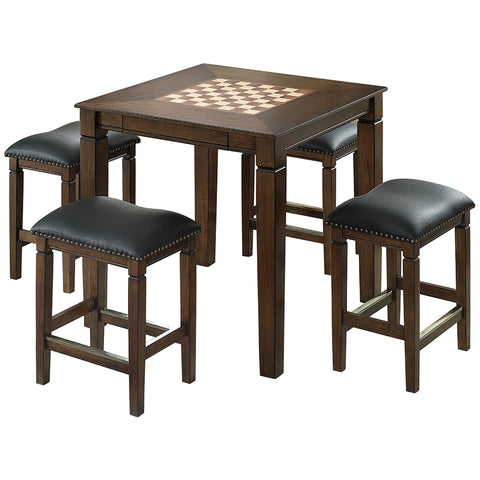 Image of Well Universal 5-piece Game Table Set, Solid Birch, Leather Seats, SWC021702