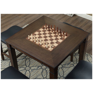 Well Universal 5-piece Game Table Set, Solid Birch, Leather Seats, SWC021702
