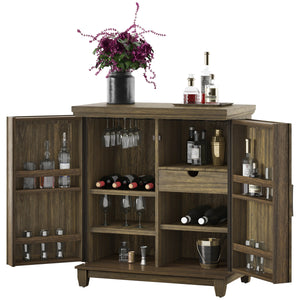 Tresanti Bar Cabinet, L 104 x W 65 x H 117 cm, Solidwood & Veneer, Brown, BC34128-QM374