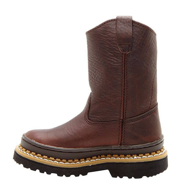 Georgia Kid's Wellington Youth  Round Toe Leather Brown Work Boot G204