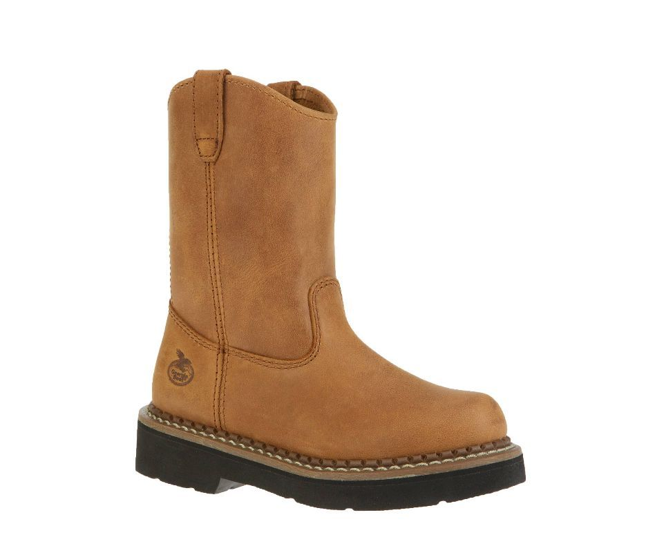 Georgia GB202 Kid's Wellington Youth  Round Toe Leather Brown Work Boot