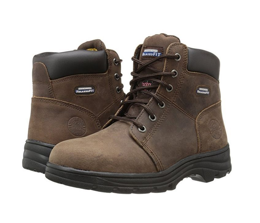 Skechers Peril Women's Brown Relaxed Fit EH Steel Toe Boot Memory Foam 76561CDB