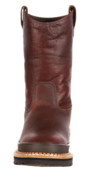 Georgia Men's Brown Leather Steel Toe Electrical Hazard Pull-On Work Boot G4374