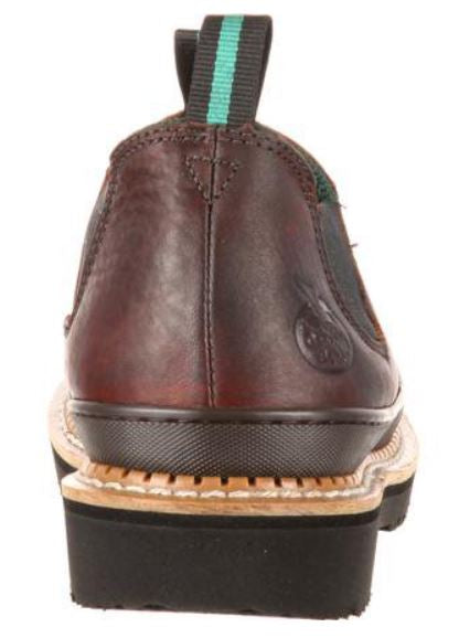 Georgia Women's Brown Leather Bumper Guard Oil Resistant Slip-On Work Shoe GR362