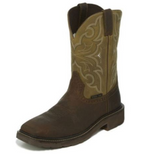 Justin Amarillo Cactus EH Steel Square Toe Pull On Western Work Boot WK4313