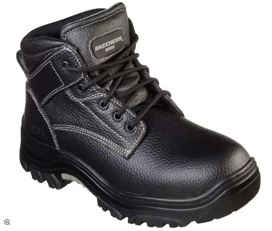 Skecher Men's Electrical Hazard Soft Toe Black Leather Work Boot 77163