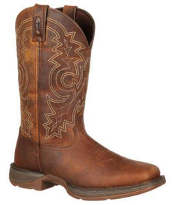 "Durango Rebel Men's 12"" Pull On Brown Leather Square Toe Western Boot DB4443"