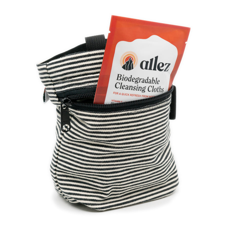 Allez Travel Essential Pack - One 2.5 oz Hand Sanitizer & Five Full Size Biodegradable Wipes