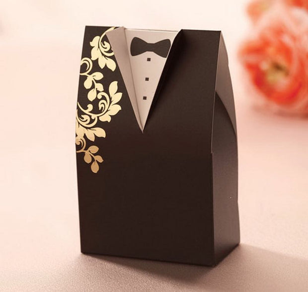 "70 PCS Chinese Red & Gold ""Bride Groom In Love"" Wedding Candy Gift Box"